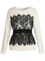 Plus Size Long Sleeves Overlay Lace Tee -