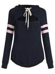 Cut Out Lace Up Stripe Sleeves Hooded Sweatshirt -