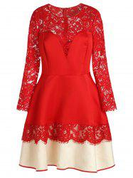 Plus Size See-through Lace Spliced Color Block Dress -
