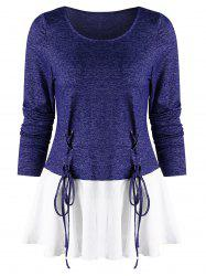 Lace Up Spliced Long Sleeves Top -