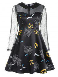 Bat Pattern Halloween Vintage Dress -