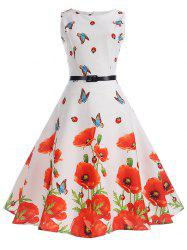 Retro Floral Print Belted Pin Up Dress -