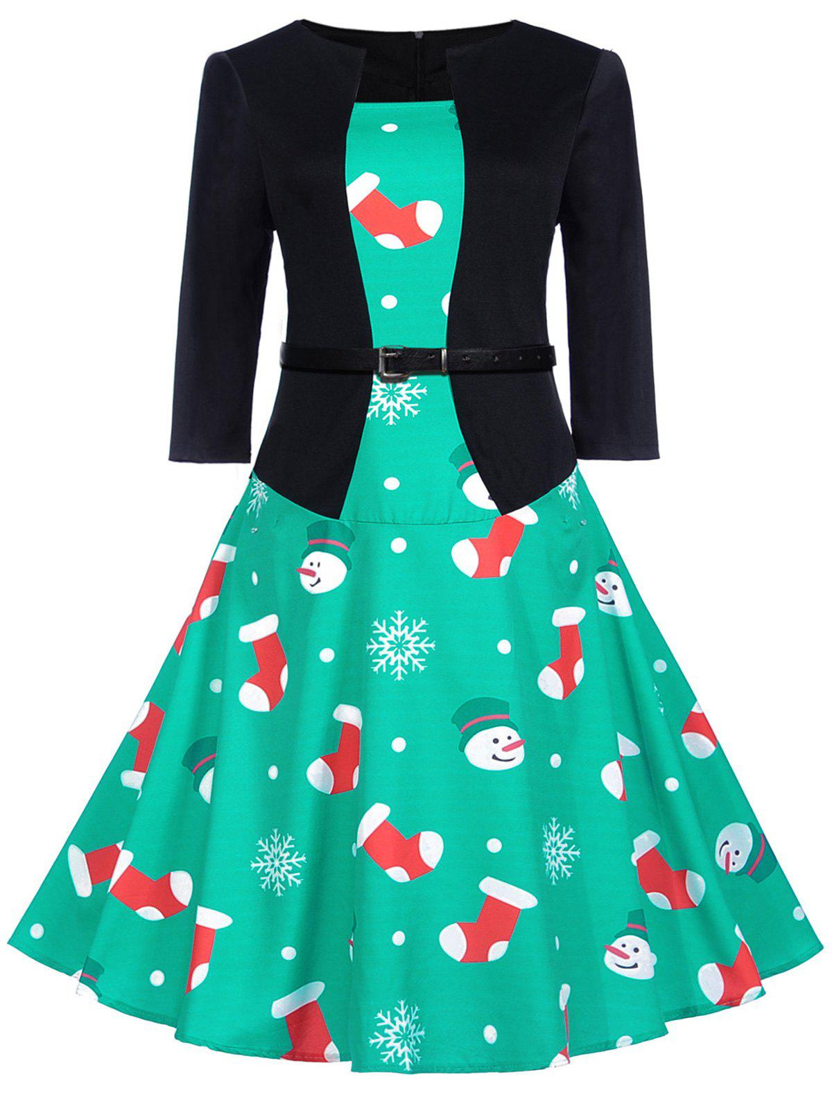 Chic Vintage Christmas Socks Snowman Print Flare Dress