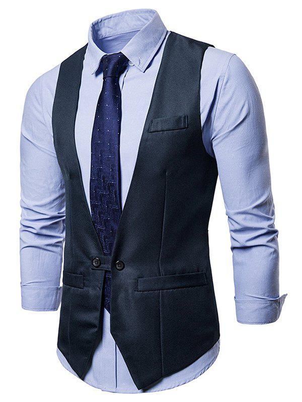 Trendy Two Button Belt Design Waistcoat