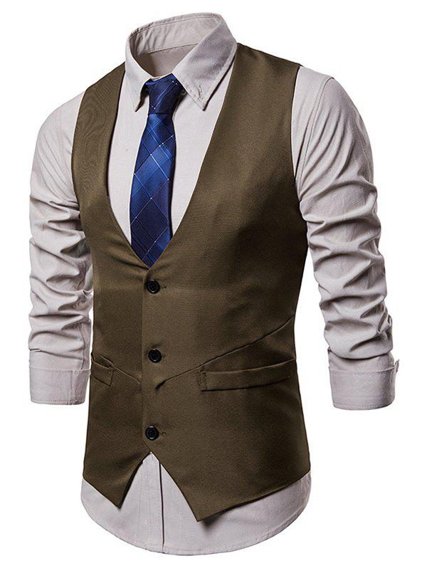 Outfits Irregularity Single Breasted Belt Design Waistcoat