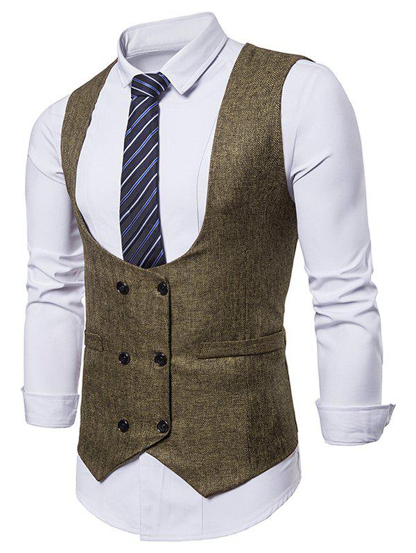 Trendy Double Breasted Belt Design Waistcoat