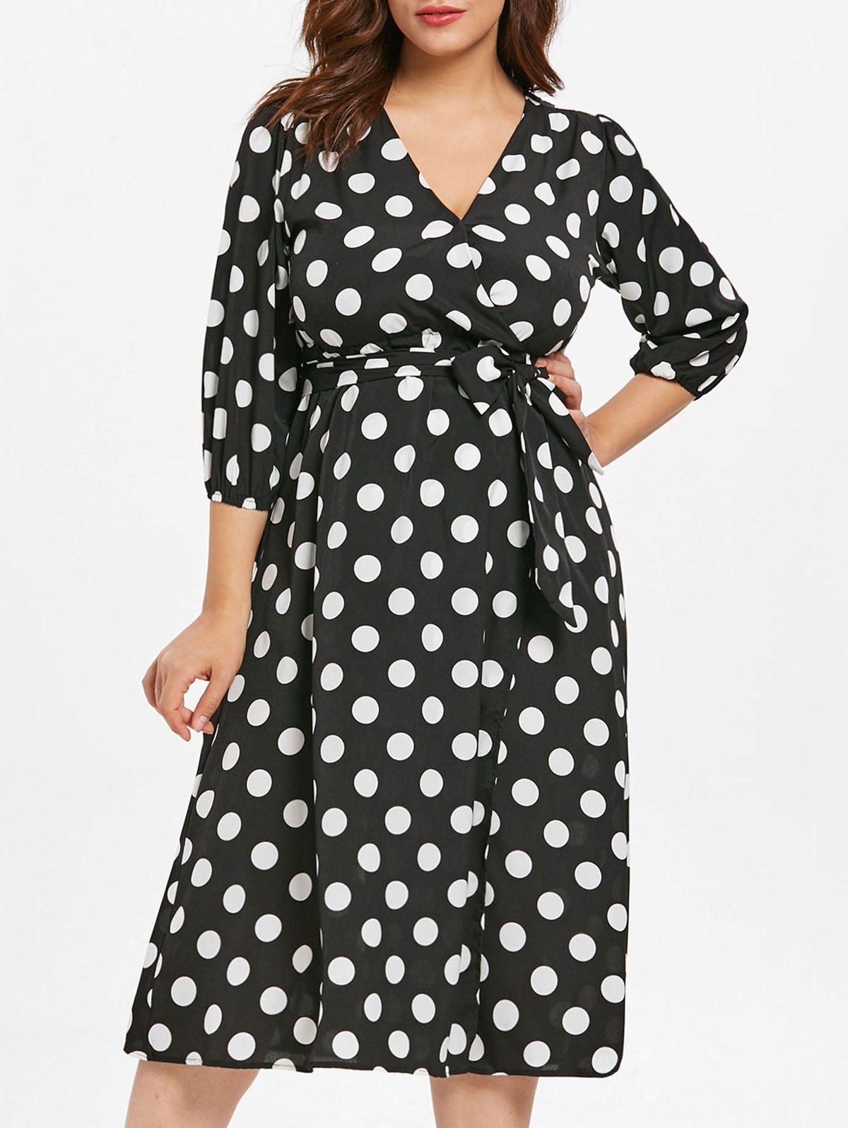 9711daae42 36% OFF] Plus Size Polka Dot Surplice Dress | Rosegal