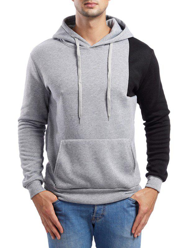 Shop Asymmetric Contrast Color Pullover Hoodie