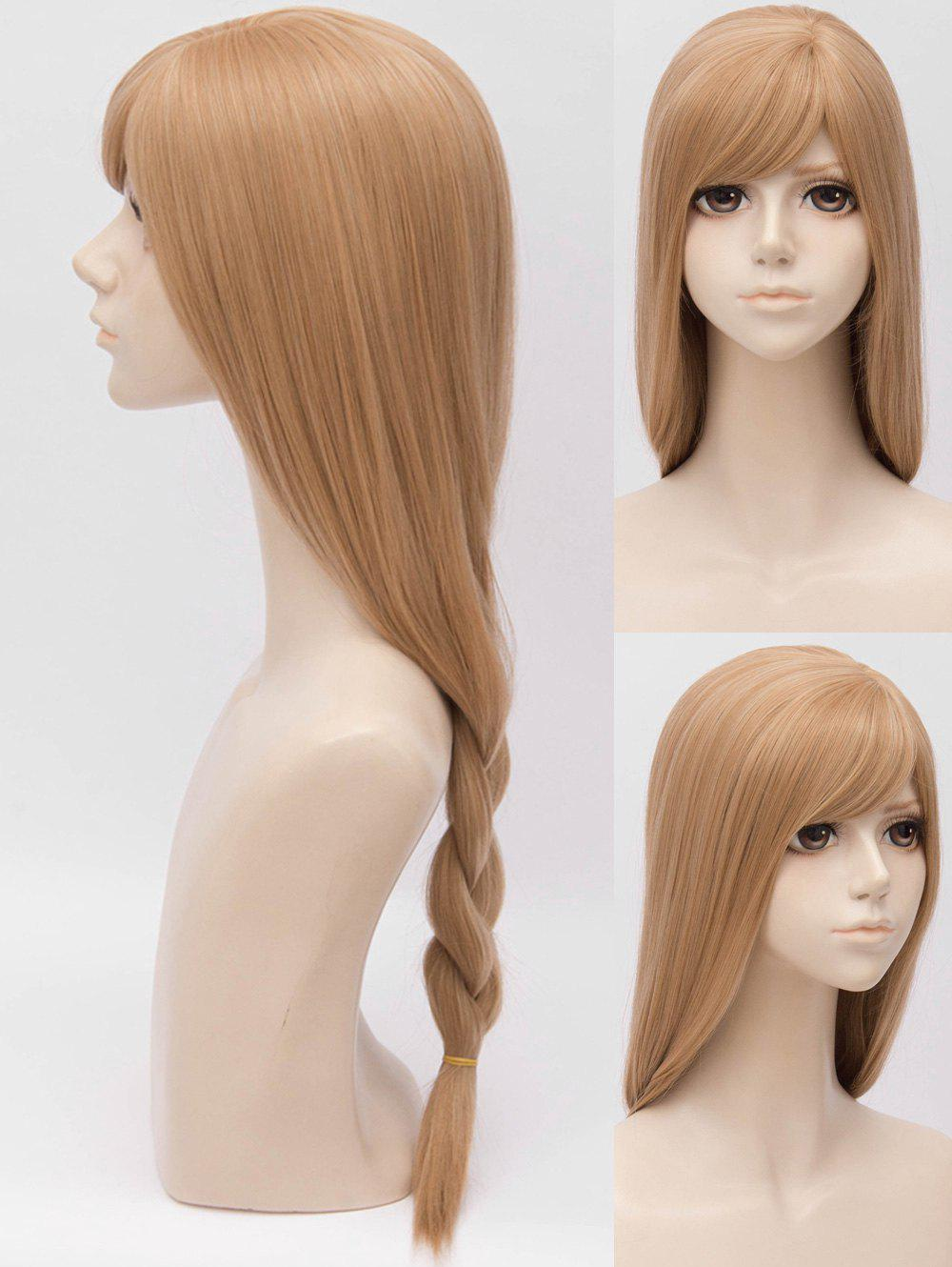 Online Inclined Bang Long Straight Braided Anime Cosplay Synthetic Wig
