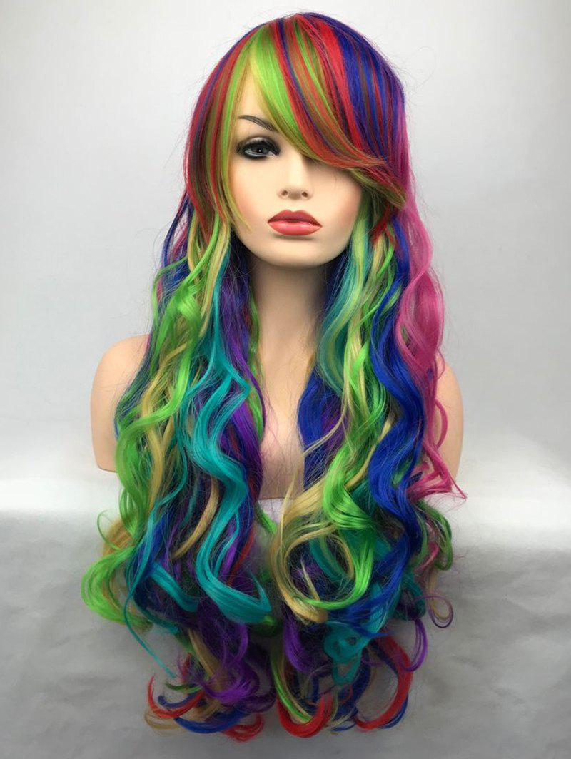 Unique Inclined Bang Long Colorful Wavy Party Carnival Synthetic Wig