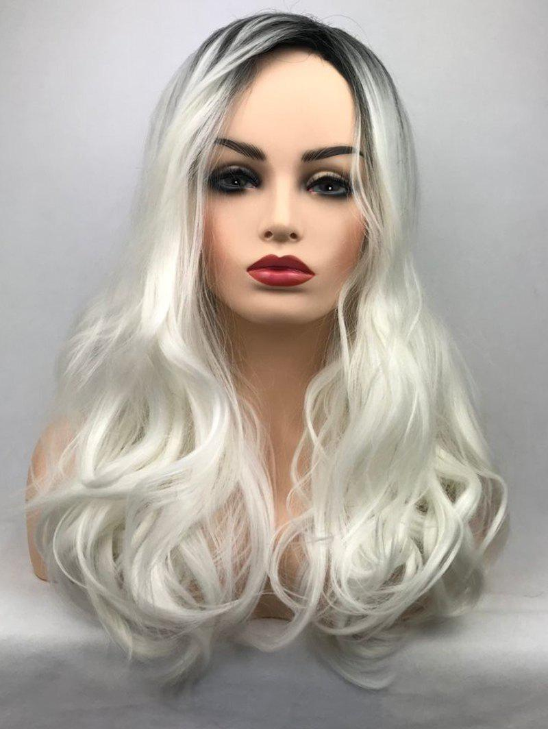 Fancy Inclined Bang Long Ombre Wavy Party Synthetic Wig