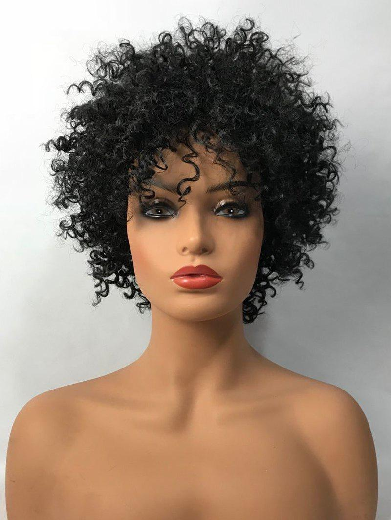 Latest Inclined Bang Short Shaggy Afro Curly Synthetic Wig