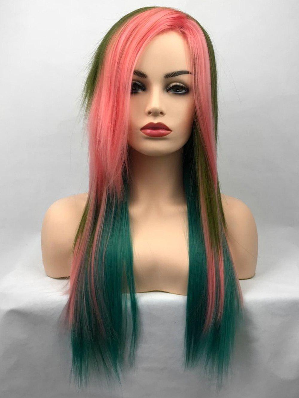 Sale Long Side Bang Colorful Straight Cosplay Party Synthetic Wig