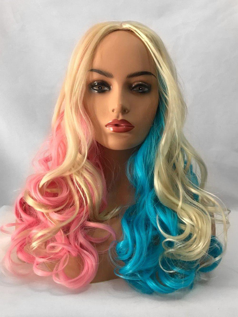 Store Middle Part Long Colorful Rainbow Wavy Party Cosplay Synthetic Wig