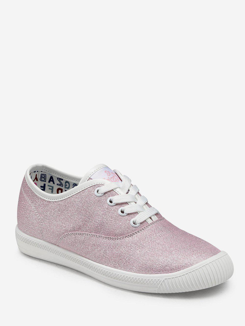 New Sequined Lace Up Flat Sneakers
