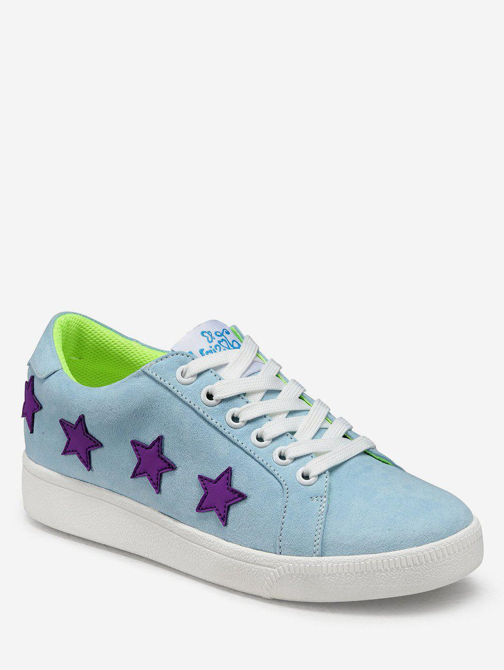 Trendy Star Applique Lacing Low Top Sneakers