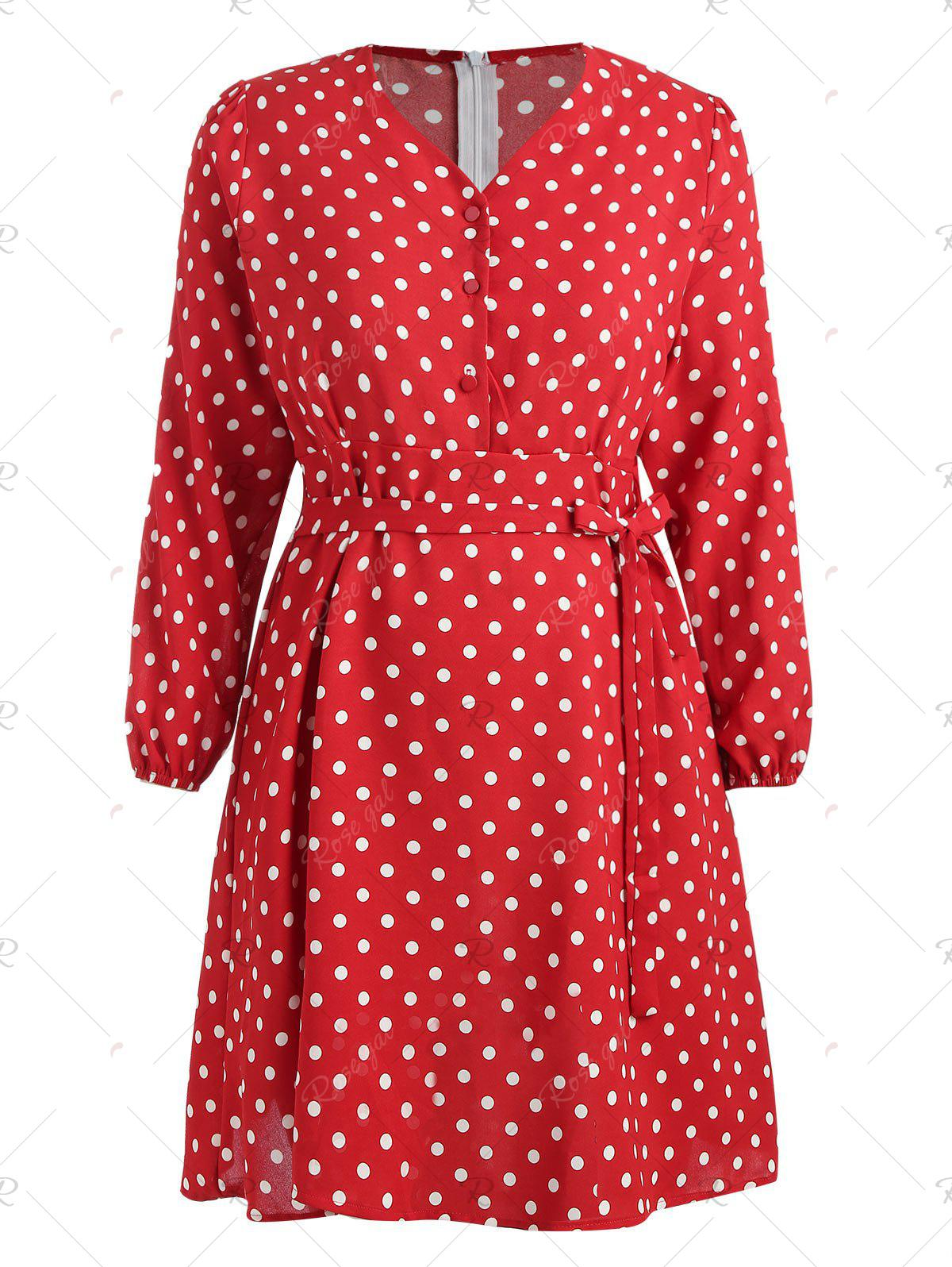 Discount Plus Size Polka Dot Belted Flare Dress