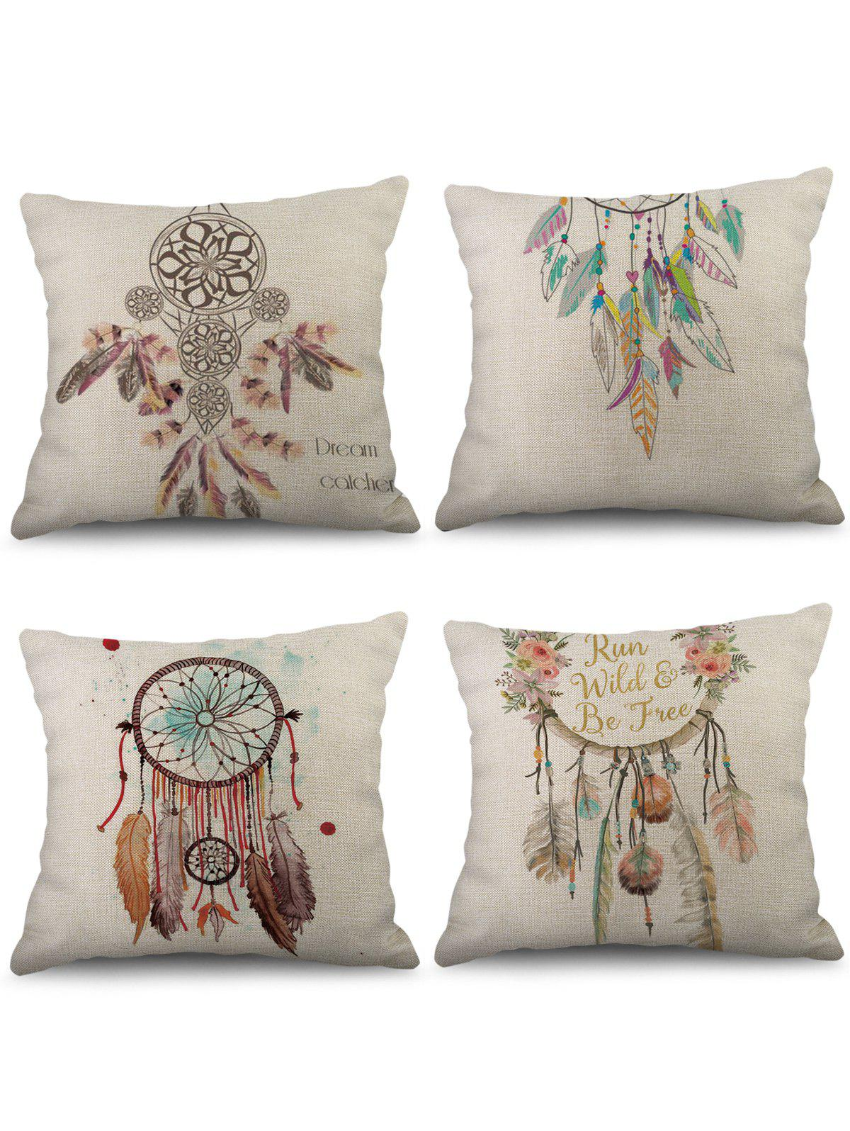 4 taies d'oreiller en lin avec impression Dream Catcher