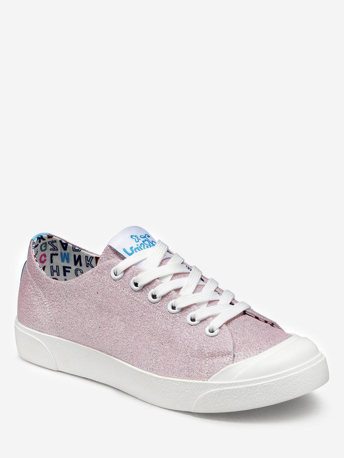 Shop Glitter Lace Up Leisure Sneakers