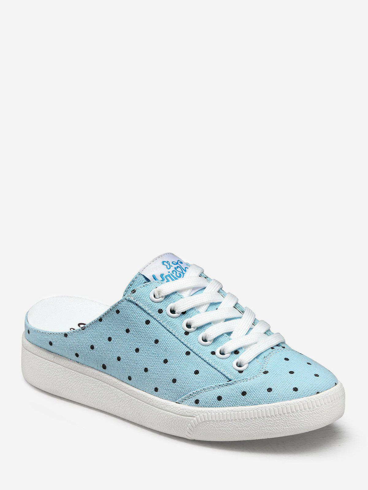 Latest Polka Dot Lacing Canvas Slingback Sneakers