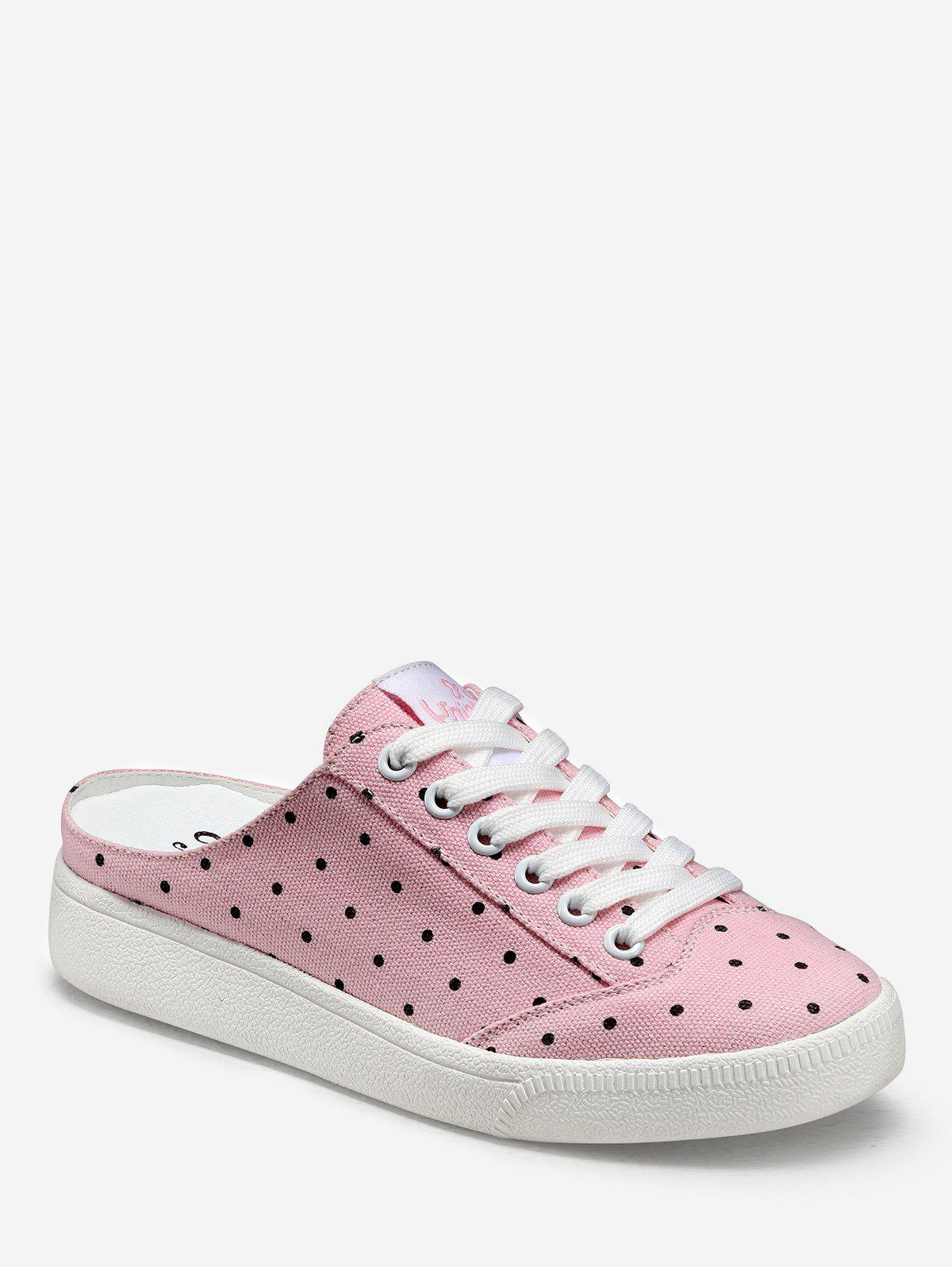 Buy Polka Dot Lacing Canvas Slingback Sneakers