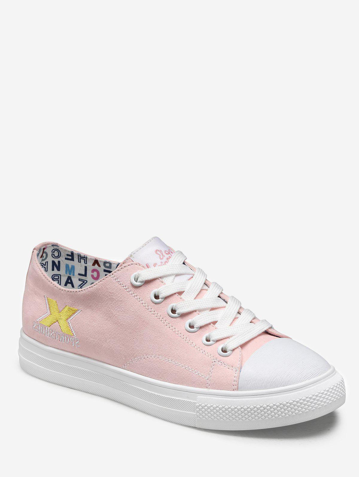 Fancy Embroidered Lacing Low Top Casual Sneakers