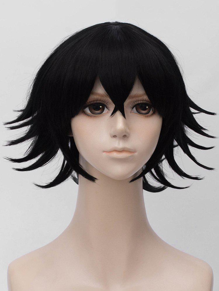 Trendy Short Side Bang Tail Upwards Straight Anime Cosplay Synthetic Wig