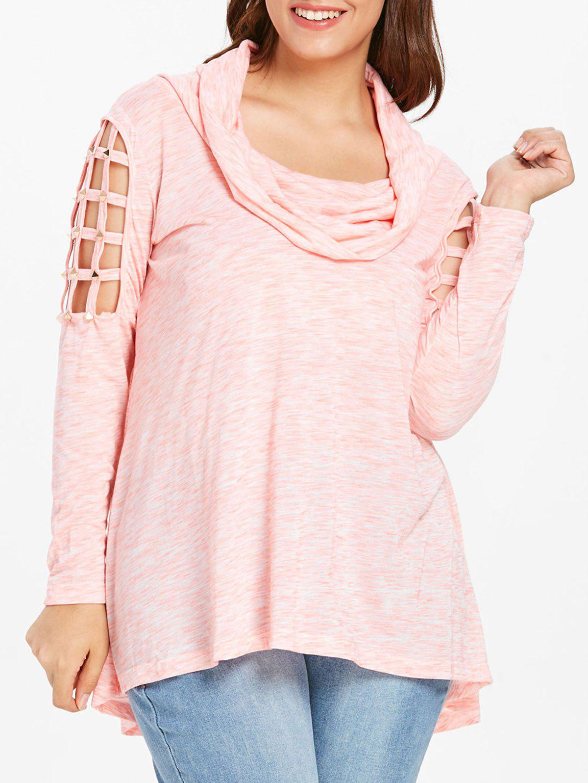 e6f4eabe8f758 48% OFF   2018 Plus Size Rivets Detail Cowl Neck T-shirt In Sakura ...