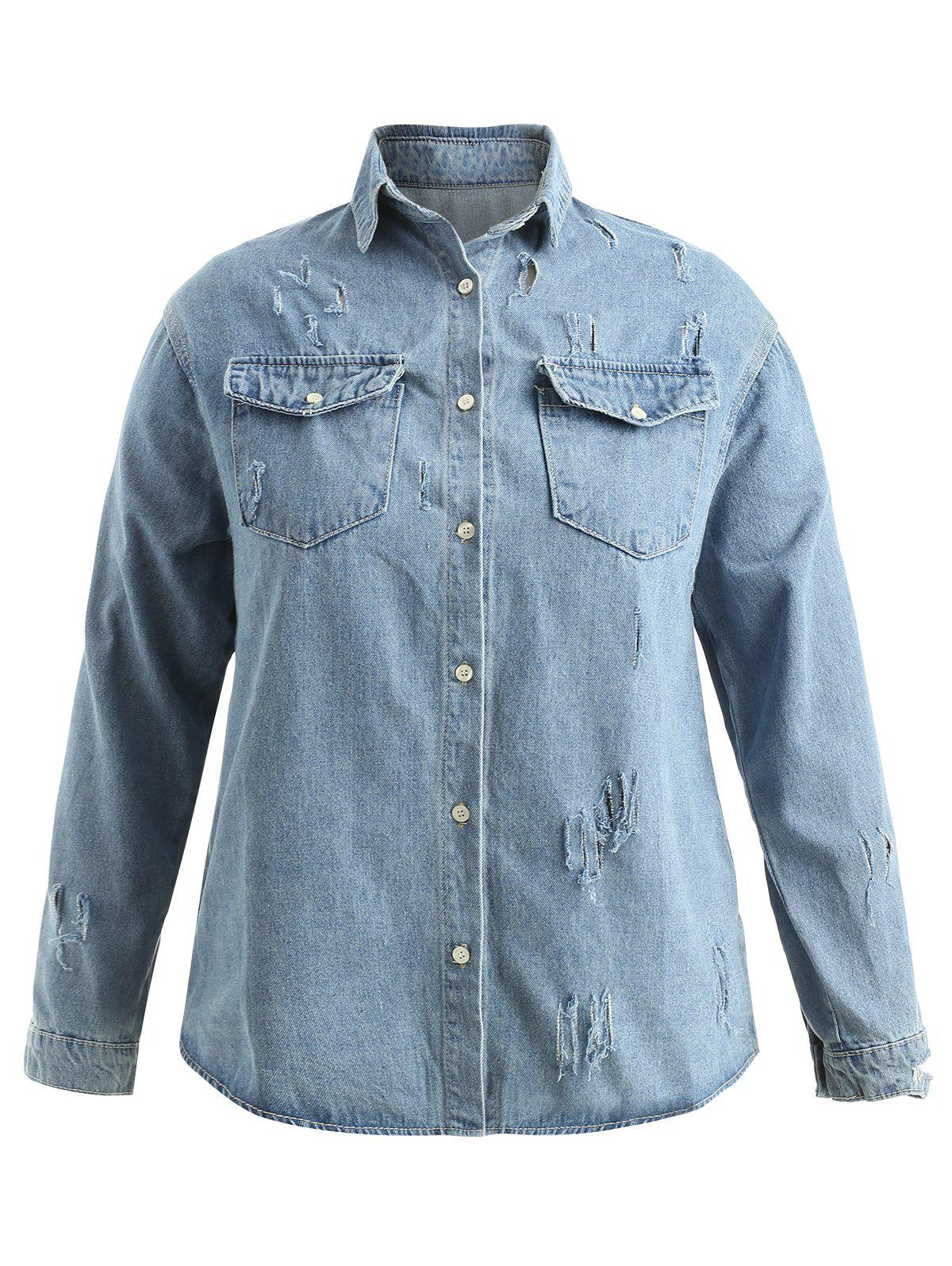 Buy Plus Size Button Up Jean Shirt Jacket