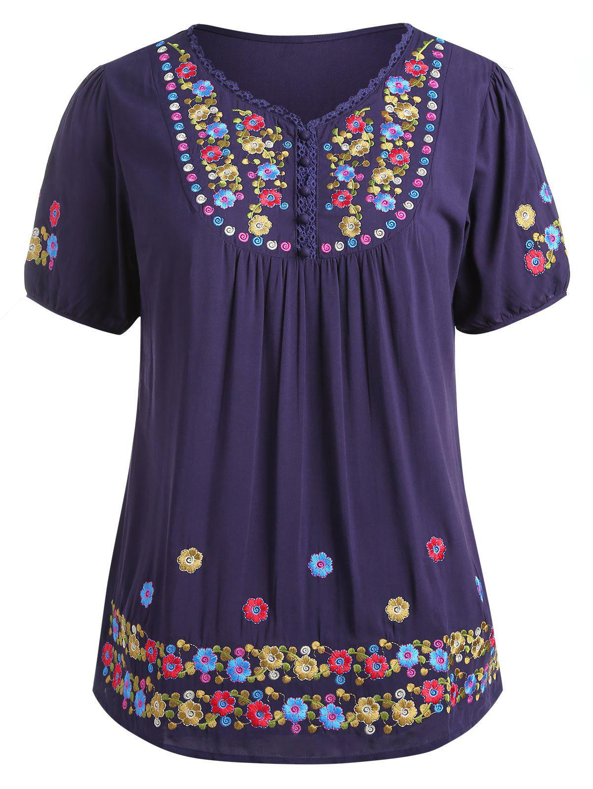 Online Floral Embroidery Plus Size Short Sleeve T-shirt