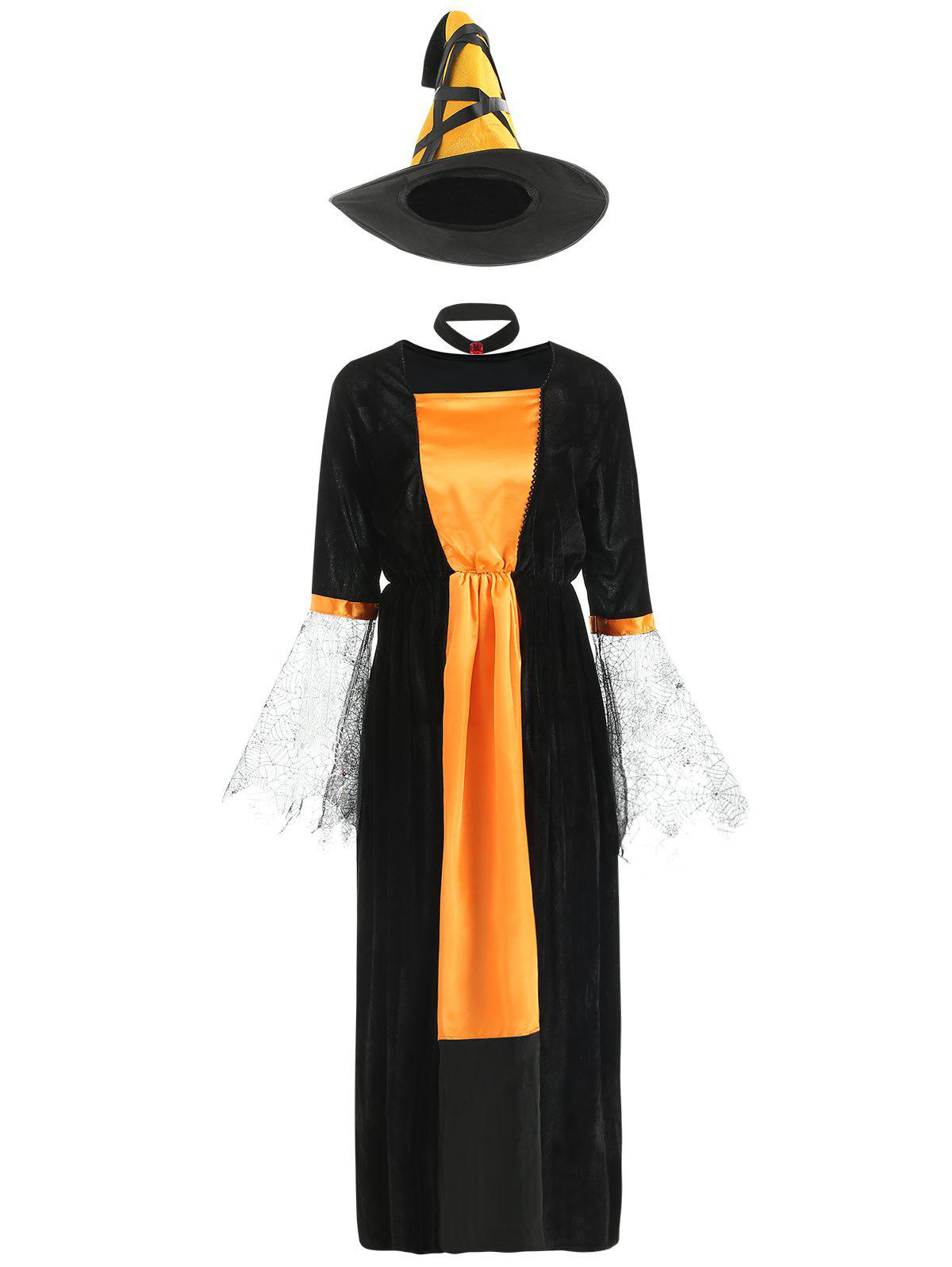 Latest Halloween Contrast Velvet Dress with Witch Hat