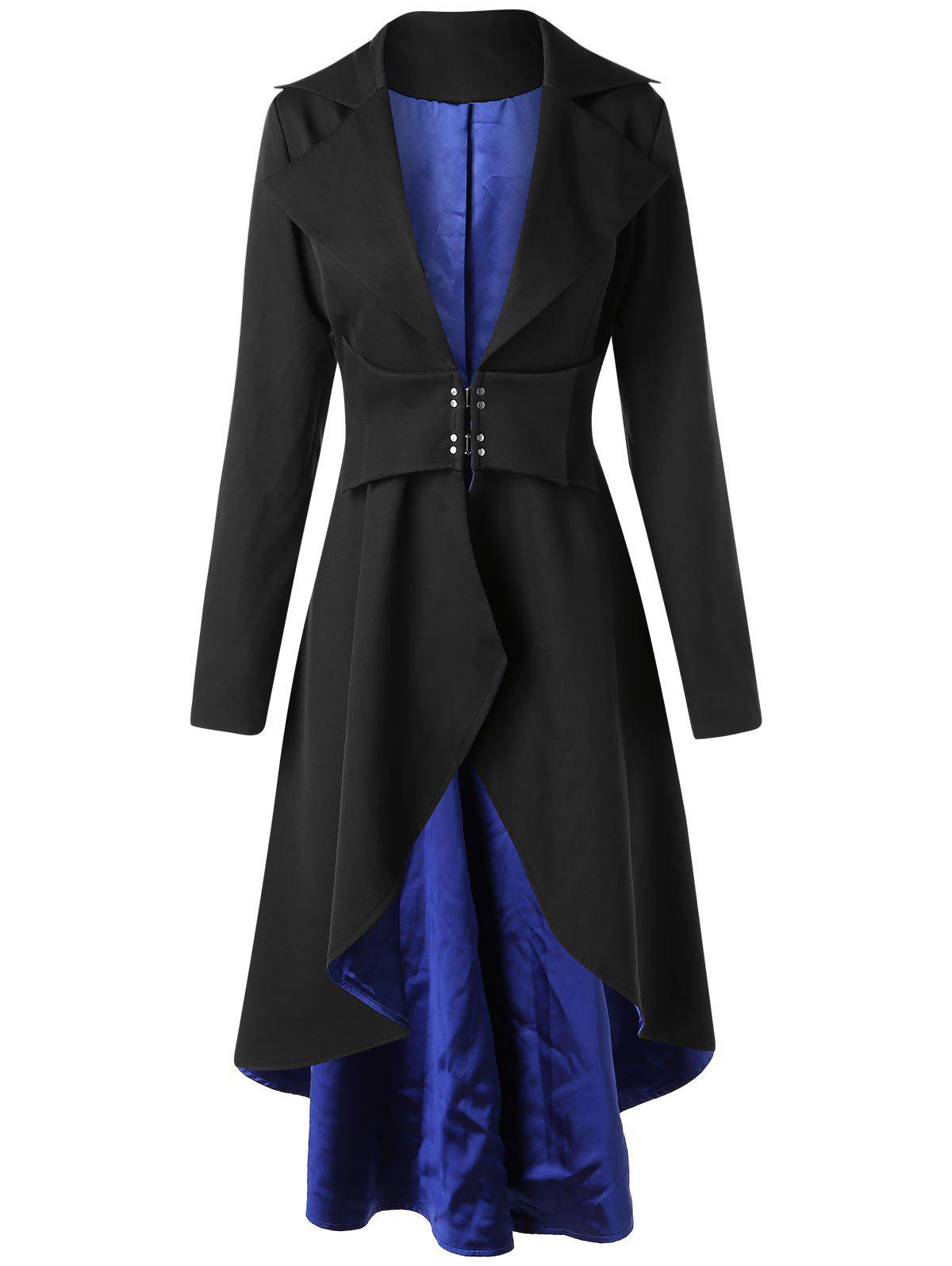 Outfit High Low Lapel Collar Skirted Longline Coat