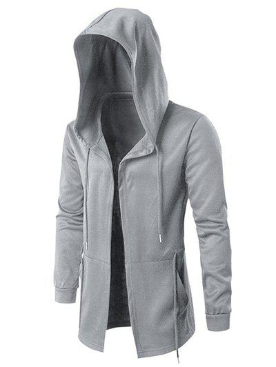 Affordable Solid Open Front Drawstring Longline Hoodie