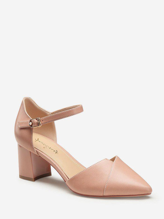 Outfits Pointed Toe Mid Block Heel Pumps