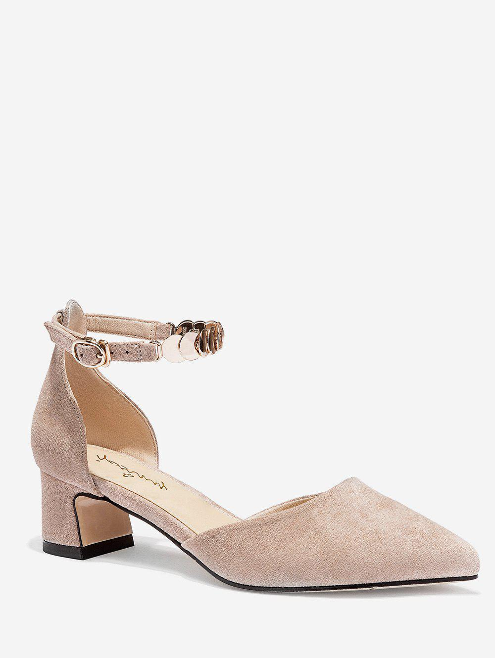 Online Disc Ankle Strap Pointed Toe Pumps