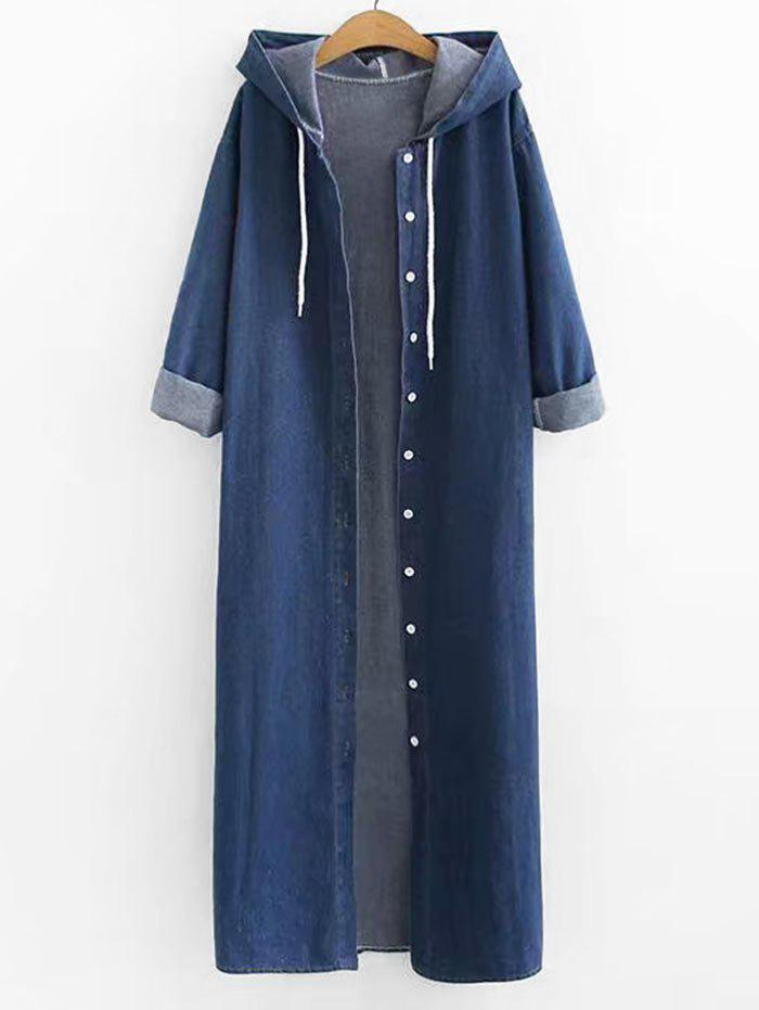 Sale Plus Size Slit Longline Denim Coat