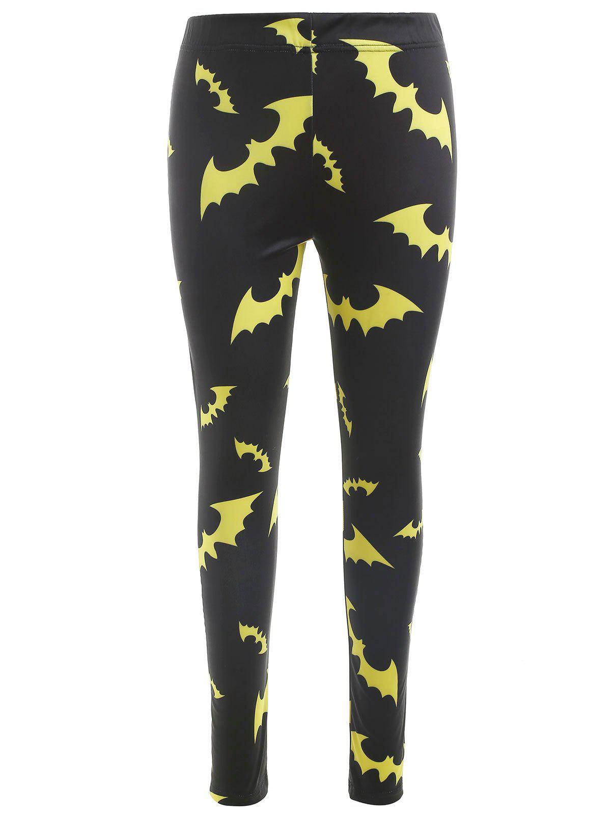Hot Halloween Bats Print Slim Leggings
