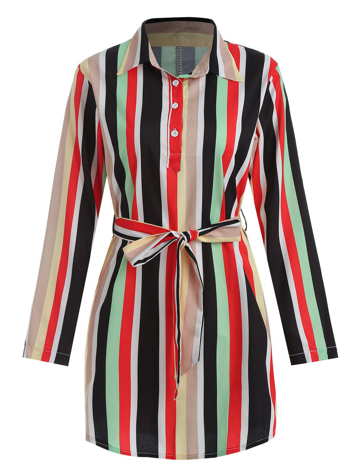 Shop Striped Belted Mini Shirt Dress