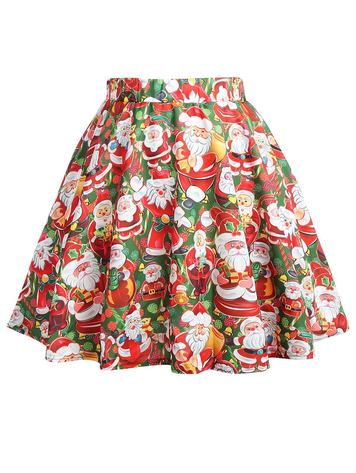 Plus Size Christmas Santa Claus Print Mini Skirt