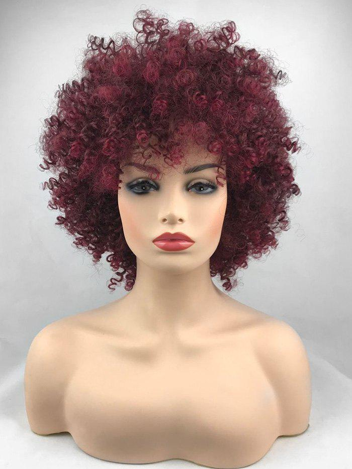 Sale Short Inclined Bang Shaggy Afro Kinky Curly Synthetic Wig