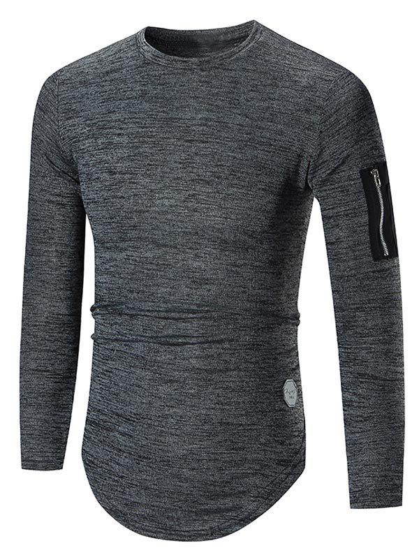 Buy Zipper Arc Hem Long Sleeve T-shirt