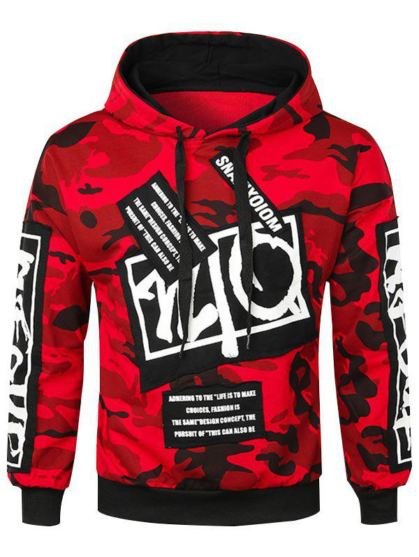 Discount Letter Applique Camo Pullover Hoodie