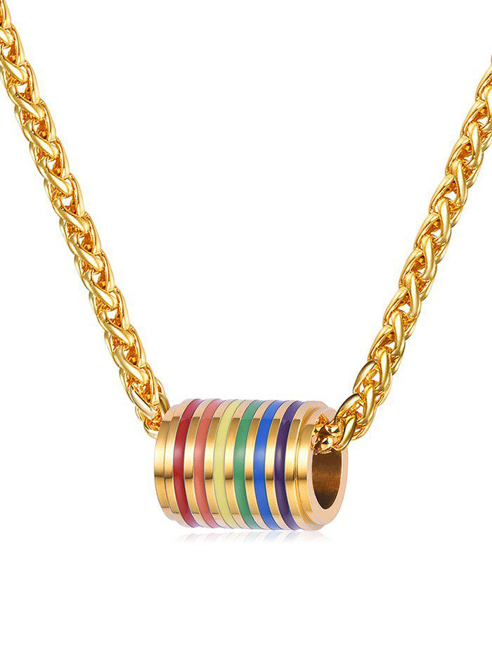 Trendy Colored Cylinder Alloy Pendant Necklace