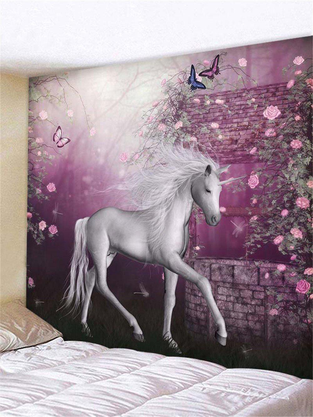 Sale Flower Unicorn Print Tapestry Wall Hanging Decoration