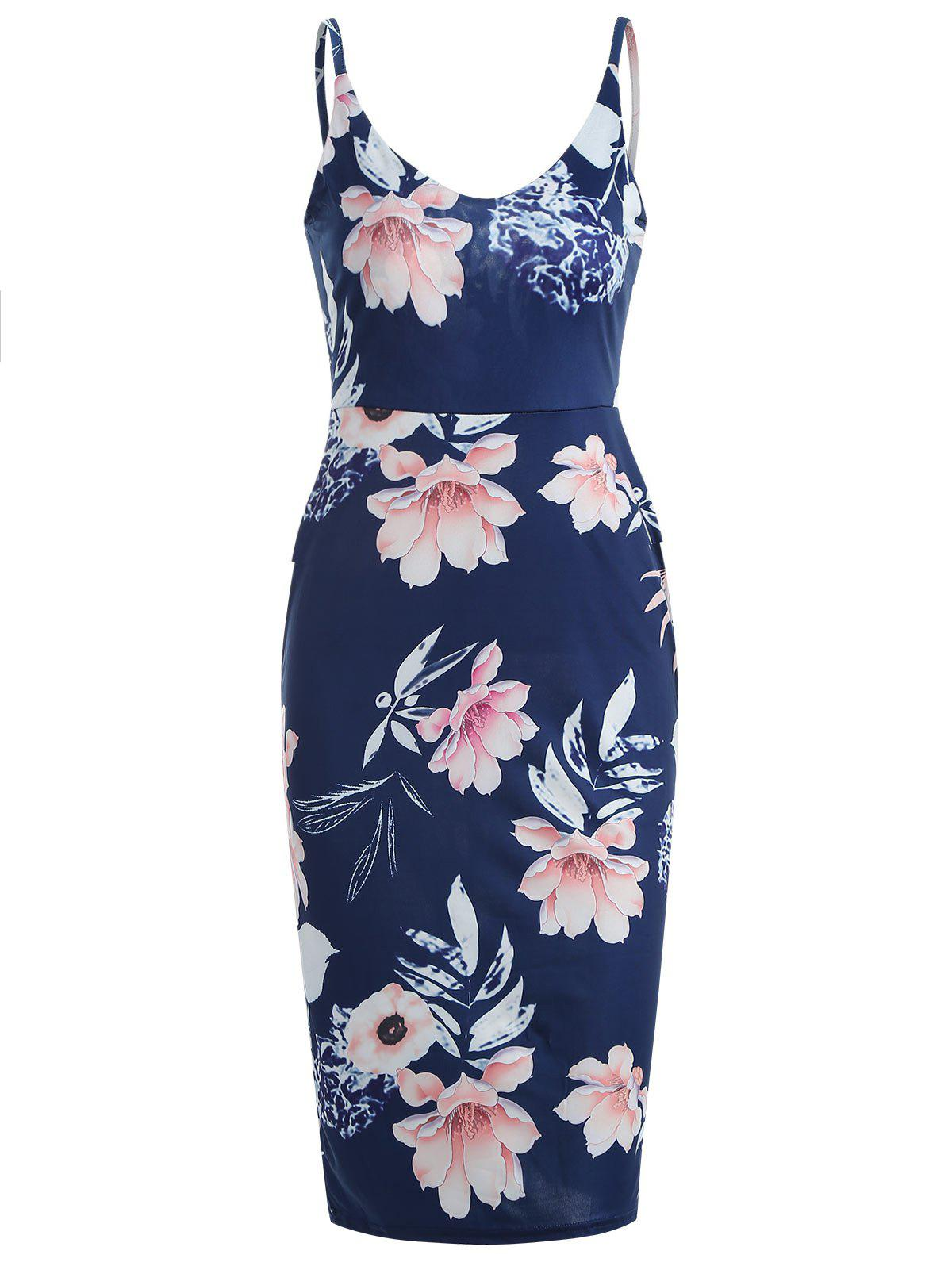 Affordable Floral Print Plunging Slip Dress