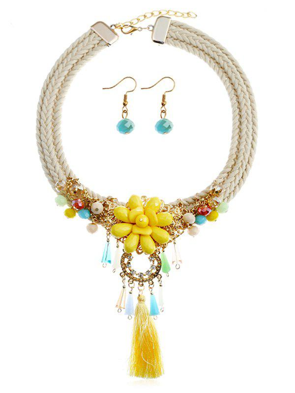 Trendy Bohemian Floral Fringed Necklace and Earrings Set