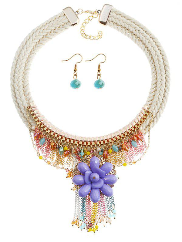 Fancy Bohemian Floral Star Fringed Necklace and Earrings
