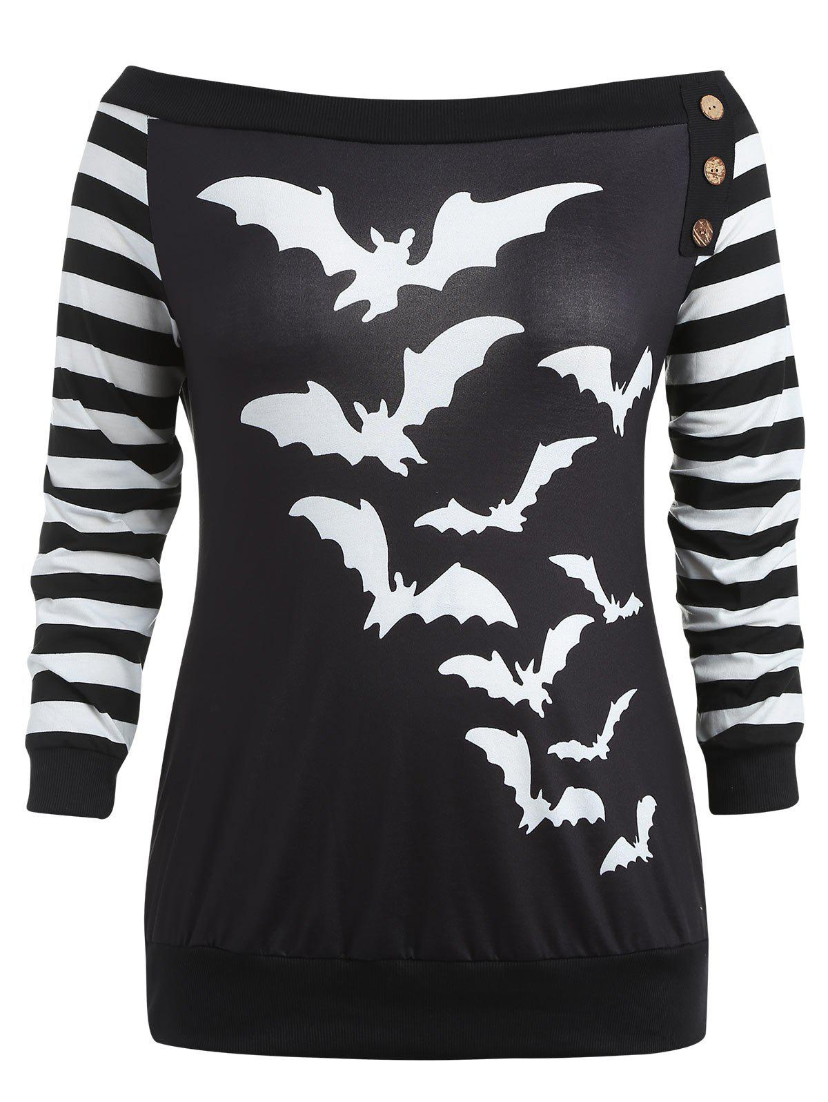 Discount Plus Size Off Shoulder Bats Print Halloween Sweatshirt