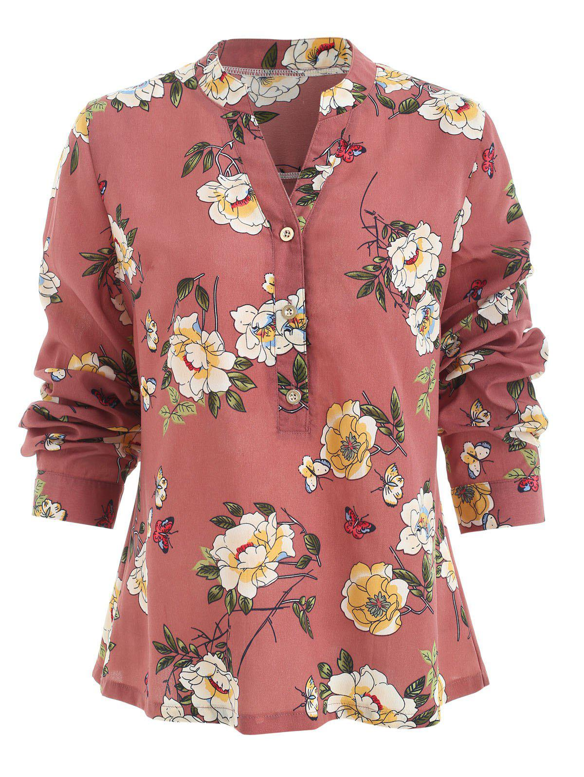2018 Floral Print Half Button Blouse In Pink M Rosegal
