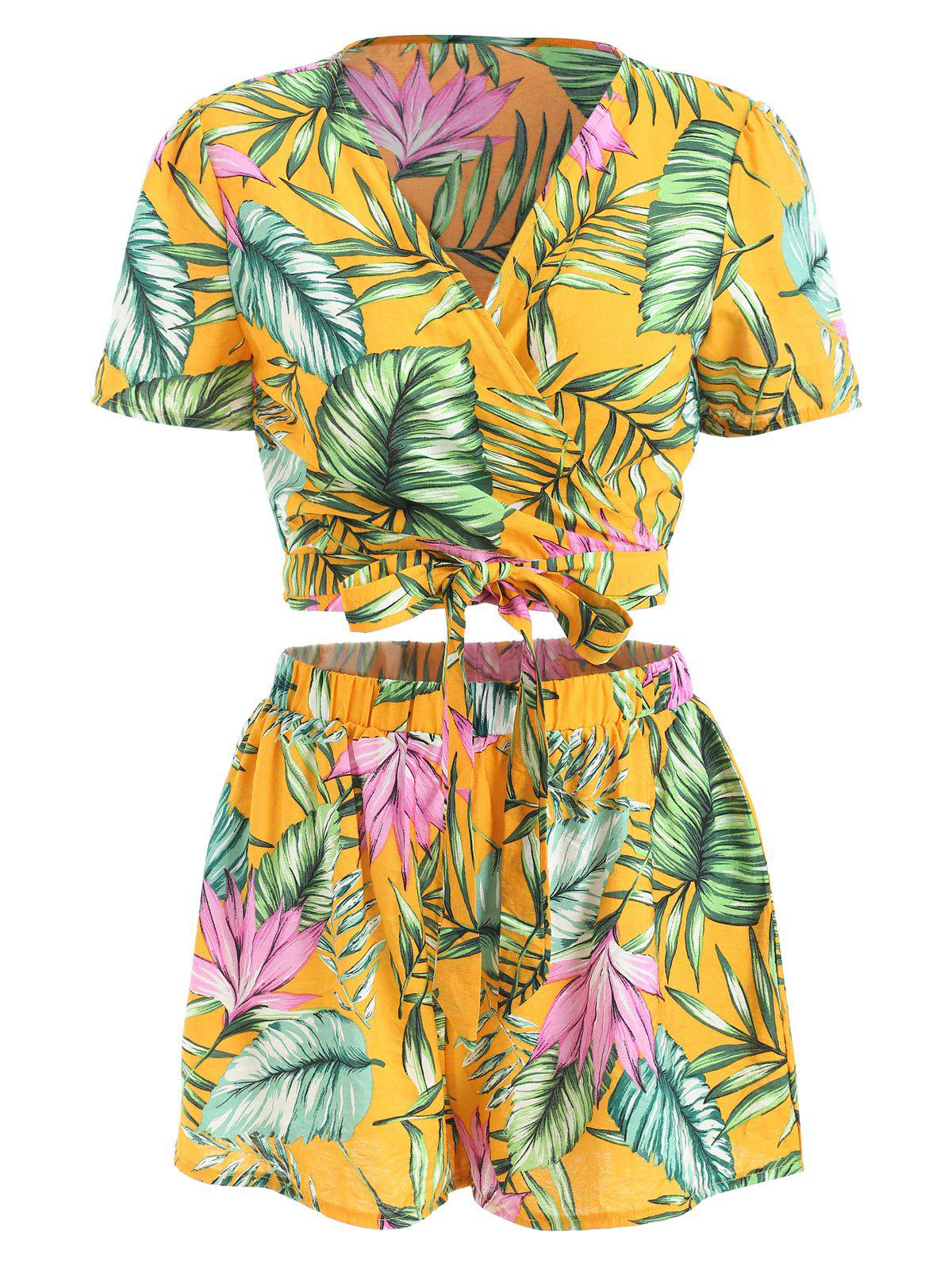 Shop Tropical Print Wrap Crop Top and Shorts